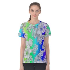 Delicate Floral Pattern,rainbow Women s Cotton Tees