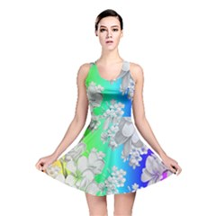 Delicate Floral Pattern,rainbow Reversible Skater Dresses