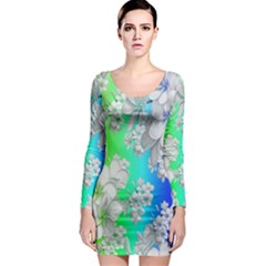 Delicate Floral Pattern,rainbow Long Sleeve Bodycon Dresses
