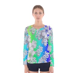 Delicate Floral Pattern,rainbow Women s Long Sleeve T-shirts