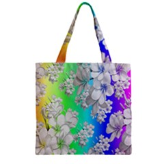 Delicate Floral Pattern,rainbow Zipper Grocery Tote Bags