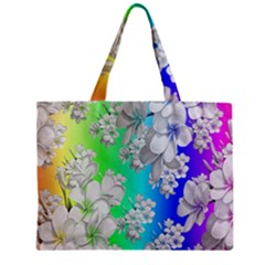 Delicate Floral Pattern,rainbow Zipper Tiny Tote Bags