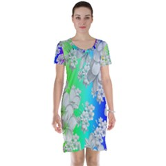 Delicate Floral Pattern,rainbow Short Sleeve Nightdresses