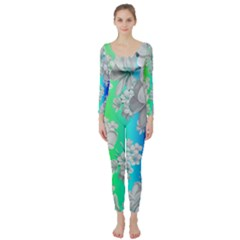Delicate Floral Pattern,rainbow Long Sleeve Catsuit