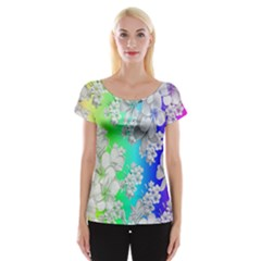 Delicate Floral Pattern,rainbow Women s Cap Sleeve Top