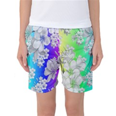 Delicate Floral Pattern,rainbow Women s Basketball Shorts