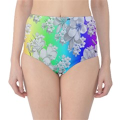 Delicate Floral Pattern,rainbow High-Waist Bikini Bottoms