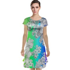 Delicate Floral Pattern,rainbow Cap Sleeve Nightdresses