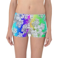 Delicate Floral Pattern,rainbow Reversible Boyleg Bikini Bottoms