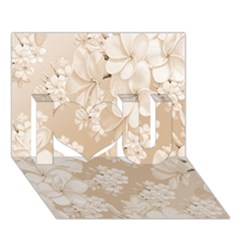Delicate Floral Pattern,softly I Love You 3d Greeting Card (7x5)