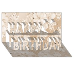 Delicate Floral Pattern,softly Happy Birthday 3d Greeting Card (8x4)