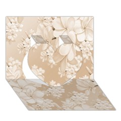 Delicate Floral Pattern,softly Heart 3d Greeting Card (7x5)