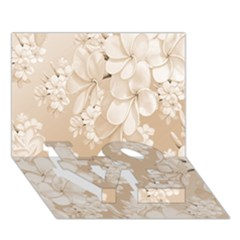 Delicate Floral Pattern,softly Love Bottom 3d Greeting Card (7x5)
