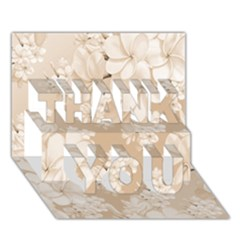 Delicate Floral Pattern,softly Thank You 3d Greeting Card (7x5)