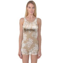 Delicate Floral Pattern,softly Women s Boyleg One Piece Swimsuits