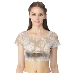 Delicate Floral Pattern,softly Short Sleeve Crop Top