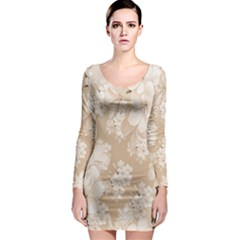Delicate Floral Pattern,softly Long Sleeve Bodycon Dresses