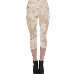 Delicate Floral Pattern,softly Capri Leggings