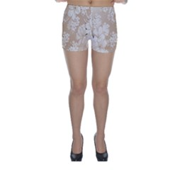 Delicate Floral Pattern,softly Skinny Shorts