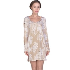 Delicate Floral Pattern,softly Long Sleeve Nightdresses