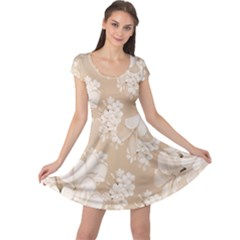 Delicate Floral Pattern,softly Cap Sleeve Dresses