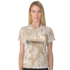 Delicate Floral Pattern,softly Women s V-Neck Sport Mesh Tee