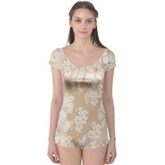 Delicate Floral Pattern,softly Short Sleeve Leotard