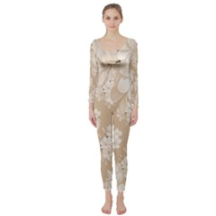 Delicate Floral Pattern,softly Long Sleeve Catsuit