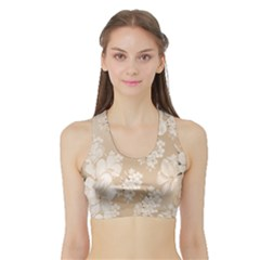Delicate Floral Pattern,softly Women s Sports Bra with Border