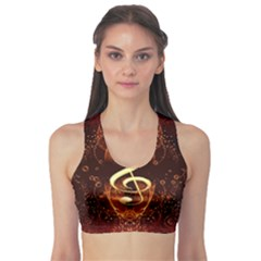 Decorative Cllef With Floral Elements Sports Bra