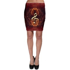 Decorative Cllef With Floral Elements Bodycon Skirts