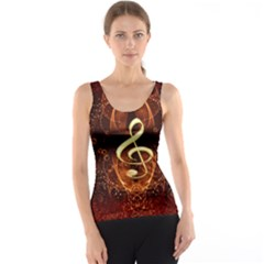 Decorative Cllef With Floral Elements Tank Tops