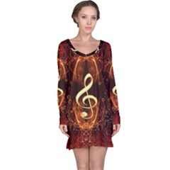 Decorative Cllef With Floral Elements Long Sleeve Nightdresses