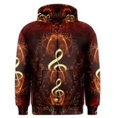 Decorative Cllef With Floral Elements Men s Zipper Hoodies