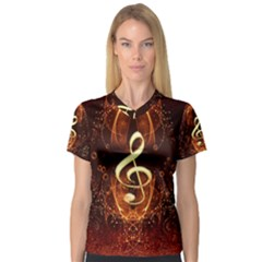 Decorative Cllef With Floral Elements Women s V-Neck Sport Mesh Tee