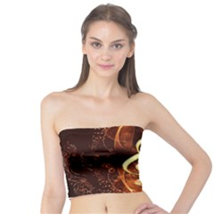 Decorative Cllef With Floral Elements Women s Tube Tops