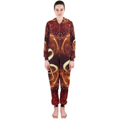 Decorative Cllef With Floral Elements Hooded Jumpsuit (Ladies)
