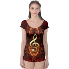 Decorative Cllef With Floral Elements Short Sleeve Leotard