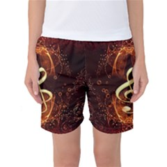 Decorative Cllef With Floral Elements Women s Basketball Shorts