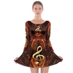 Decorative Cllef With Floral Elements Long Sleeve Skater Dress