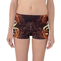 Decorative Cllef With Floral Elements Boyleg Bikini Bottoms