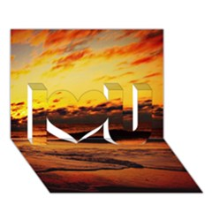 Stunning Sunset On The Beach 2 I Love You 3D Greeting Card (7x5)