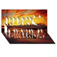 Stunning Sunset On The Beach 2 Happy Birthday 3d Greeting Card (8x4)