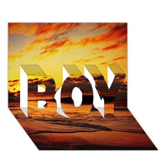 Stunning Sunset On The Beach 2 Boy 3d Greeting Card (7x5)