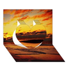 Stunning Sunset On The Beach 2 Heart 3D Greeting Card (7x5)