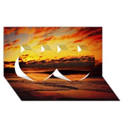 Stunning Sunset On The Beach 2 Twin Hearts 3D Greeting Card (8x4)
