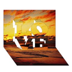Stunning Sunset On The Beach 2 LOVE 3D Greeting Card (7x5)
