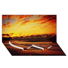 Stunning Sunset On The Beach 2 Twin Heart Bottom 3d Greeting Card (8x4)