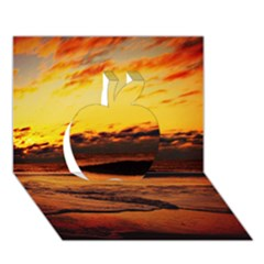 Stunning Sunset On The Beach 2 Apple 3D Greeting Card (7x5)