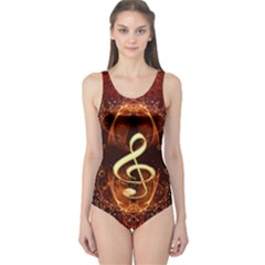 Decorative Cllef With Floral Elements Women s One Piece Swimsuits